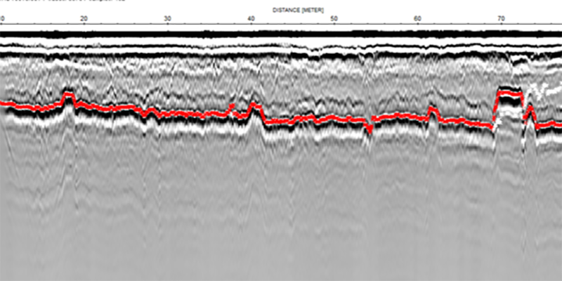 GPR profile showing a clear reflector, the top of the road pavement