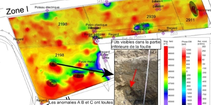 Magnetic anomalies mapping allows for precise positioning of metallic waste